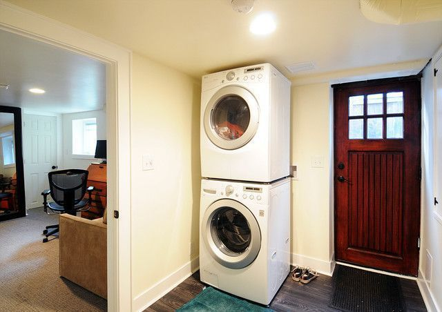 One easy method to create a modern appearance is to include a new light Its a costeffective way to start a style or up your basement laundry rooms design tag basement lau...