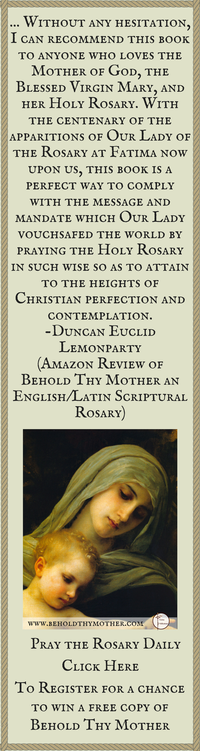 Register for a chance to win a free copy of behold thy mother an santo rosariolibro