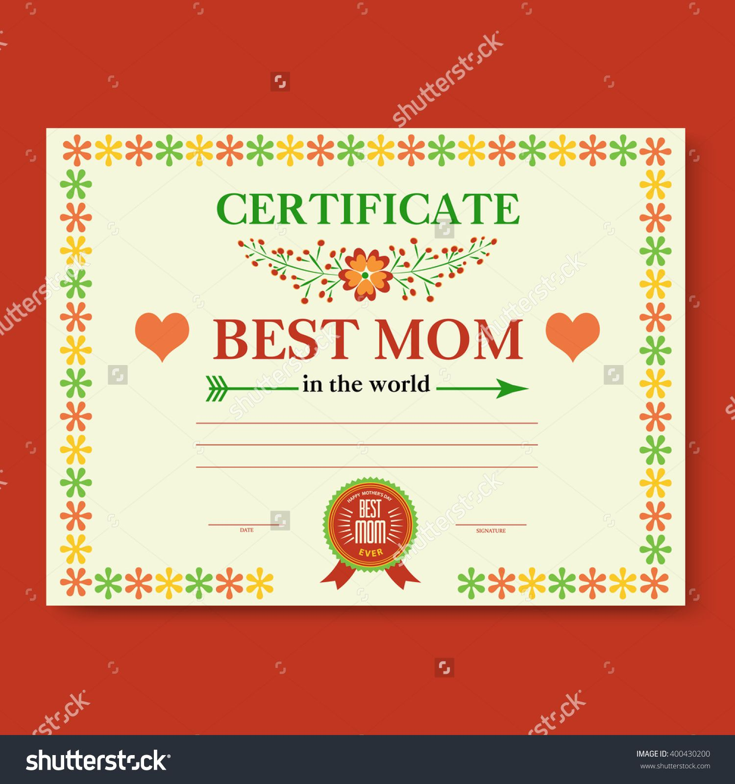the template of the certificate  diploma  congratulations for mother u0026 39 s day in vintage retro