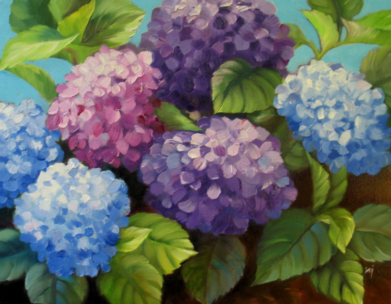 4 28 13 5 5 13 Hydrangea Painting Abstract Floral Art Flower Painting