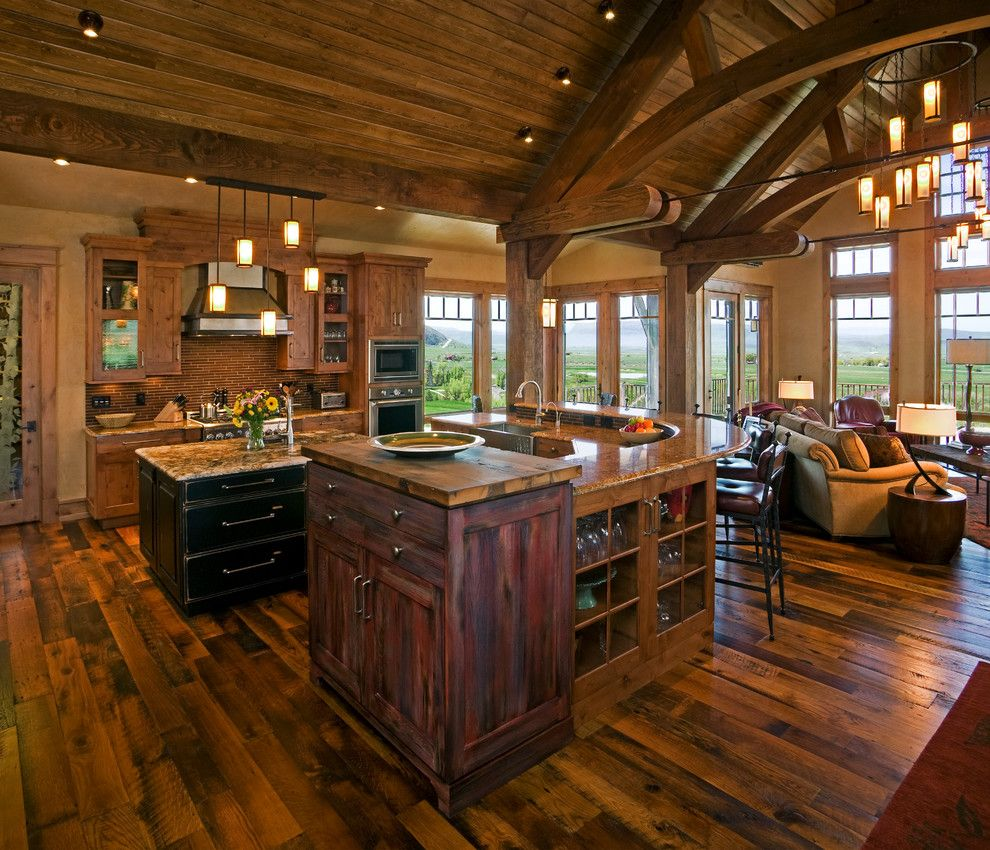 Open floor plan farmhouse kitchen rustic with vaulted for Open floor plans with vaulted ceilings