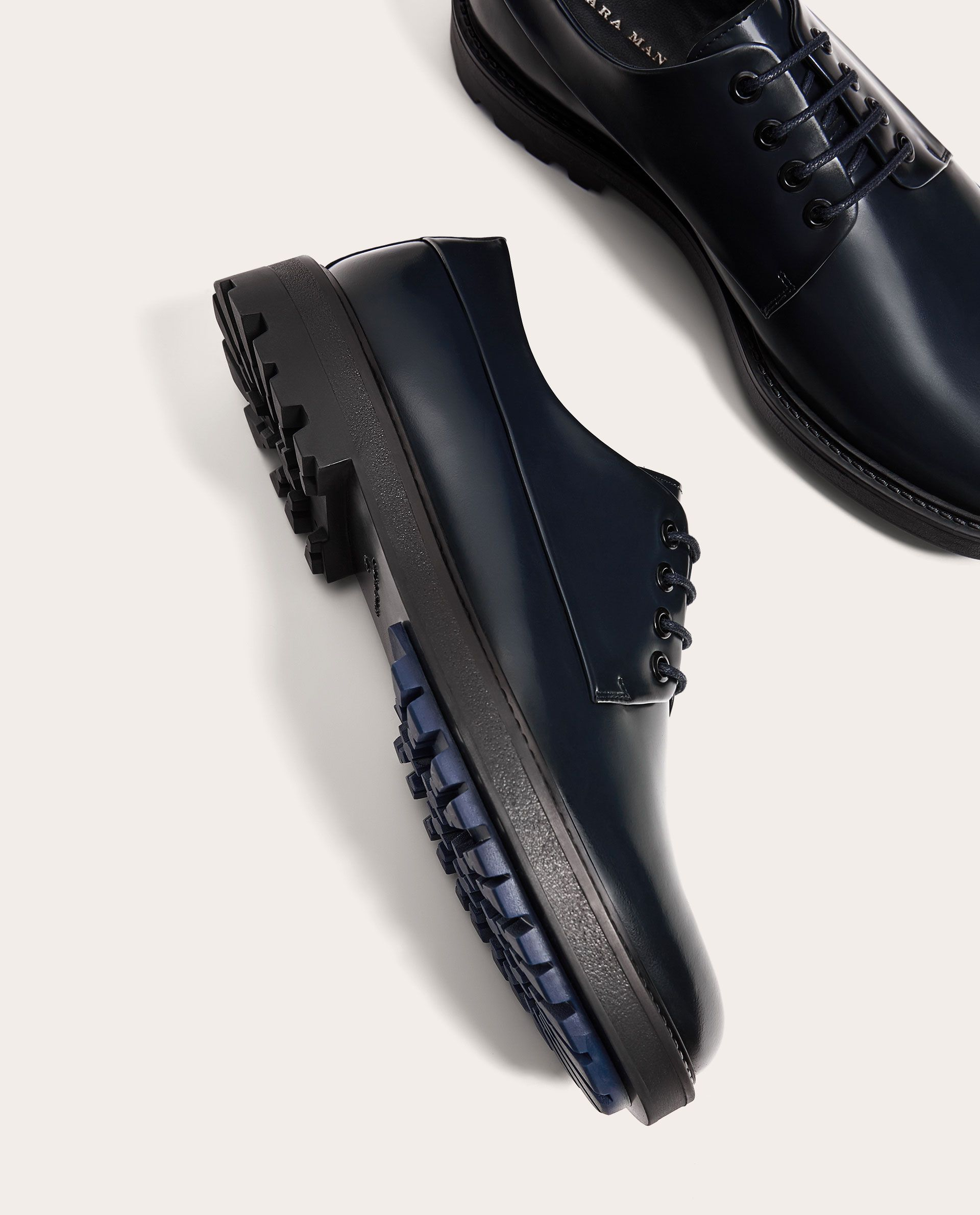 Image 2 Of Blue Leather Shoes With Track Soles From Zara Blue Leather Shoes Dress Shoes Men Chelsea Boots Men Outfit [ 2379 x 1920 Pixel ]