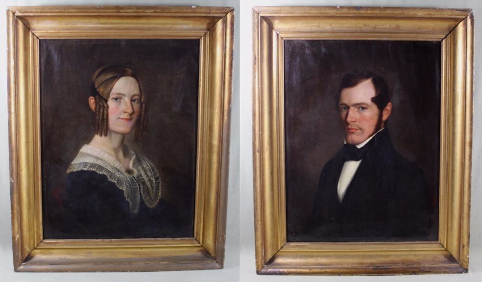 1841 Antique 19thC CHARLES CURTIS Husband & Wife American Portrait Oil Paintings