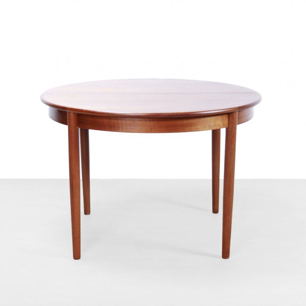For Sale Danish Round Dining Table In Teak By Luno Mobler Aarhus