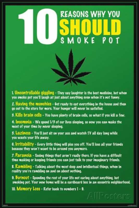 10 Reasons to Smoke Pot Marijuana Poster at AllPosters.com