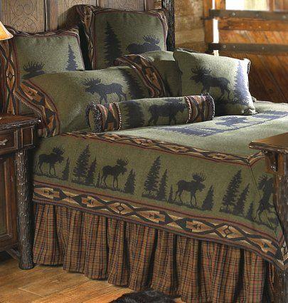 Best Green Comforter With Deer Pattern In Luxury Rustic Cabin 640 x 480