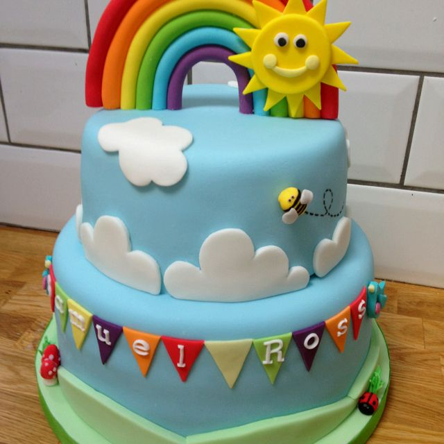 Sunshine And Rainbow Cake For Nephew S Christening With Images
