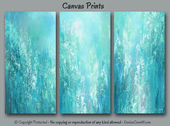 Large Abstract Triptych 3 Piece Wall Art Canvas Set Aqua Etsy Canvas Wall Art Abstract Canvas Painting Abstract Canvas Art