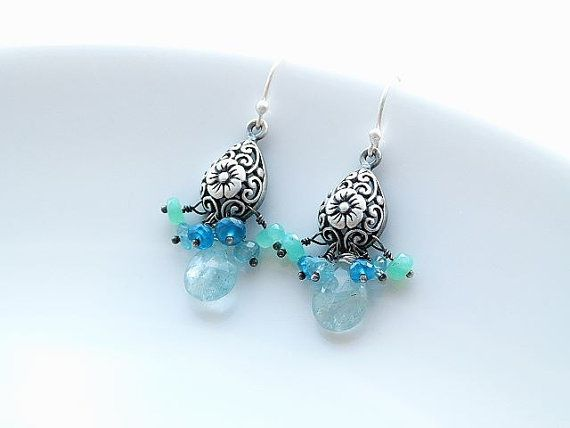 Sterling silver earrings with faceted aquamarine teardrop, aquamarine, apatite and chrysoprase rondelles and carved filigree