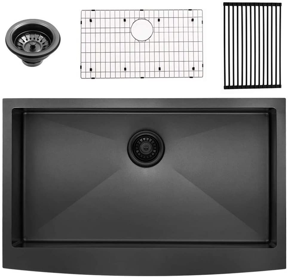 Bokaiya 33 Farmhouse Apron Sink Black 16 Gauge 10 Inch Deep Single Bowl Stainless Steel Kitchen Sink Matte Black Apron Sink Farmhouse Apron Sink Best Home Security Camera