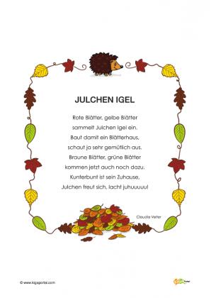 Bildergebnis f r gedicht igel n met versek autumn for Angebote kindergarten herbst