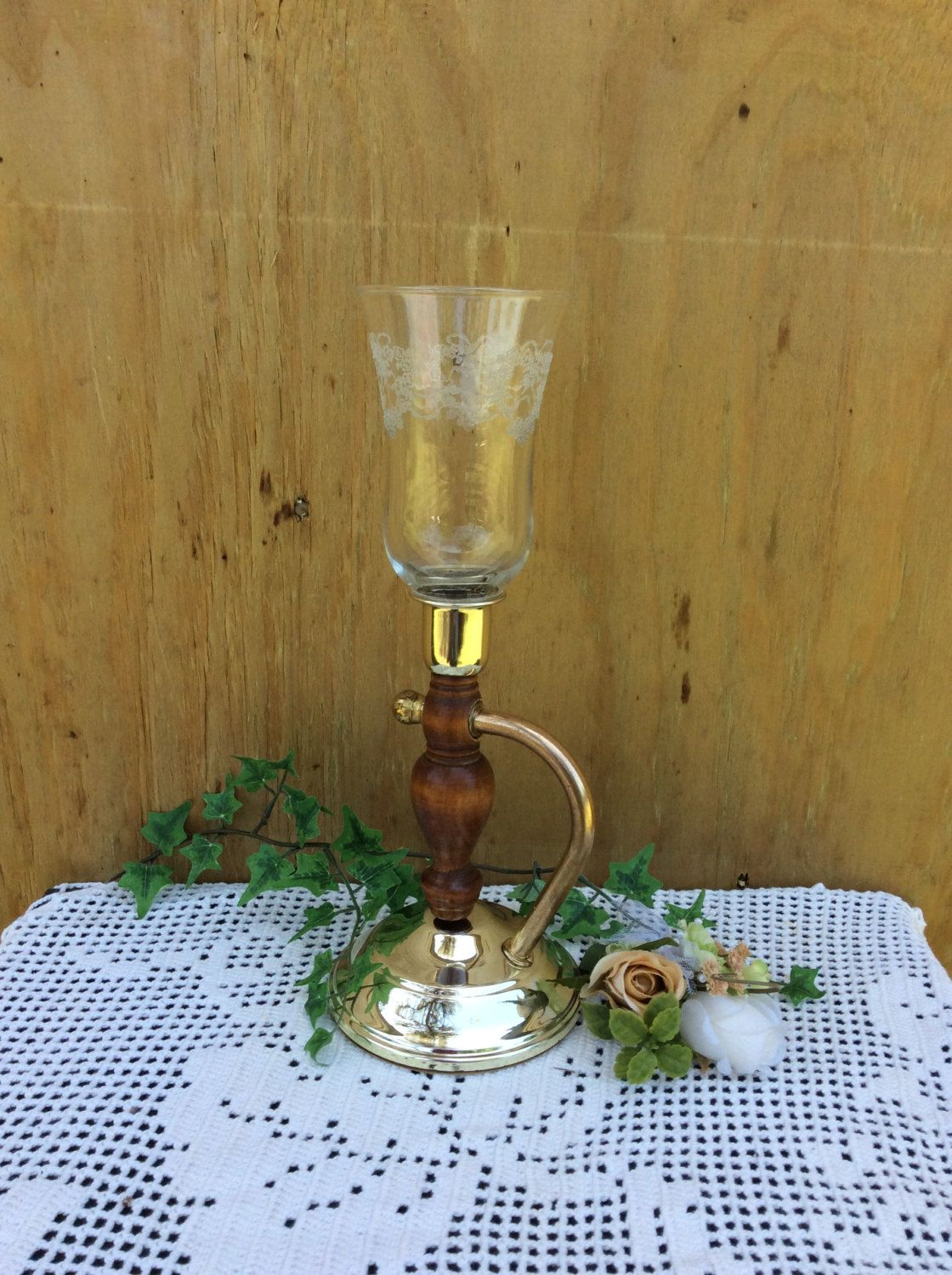 vintage home interior candle holder with glass votive faux brass