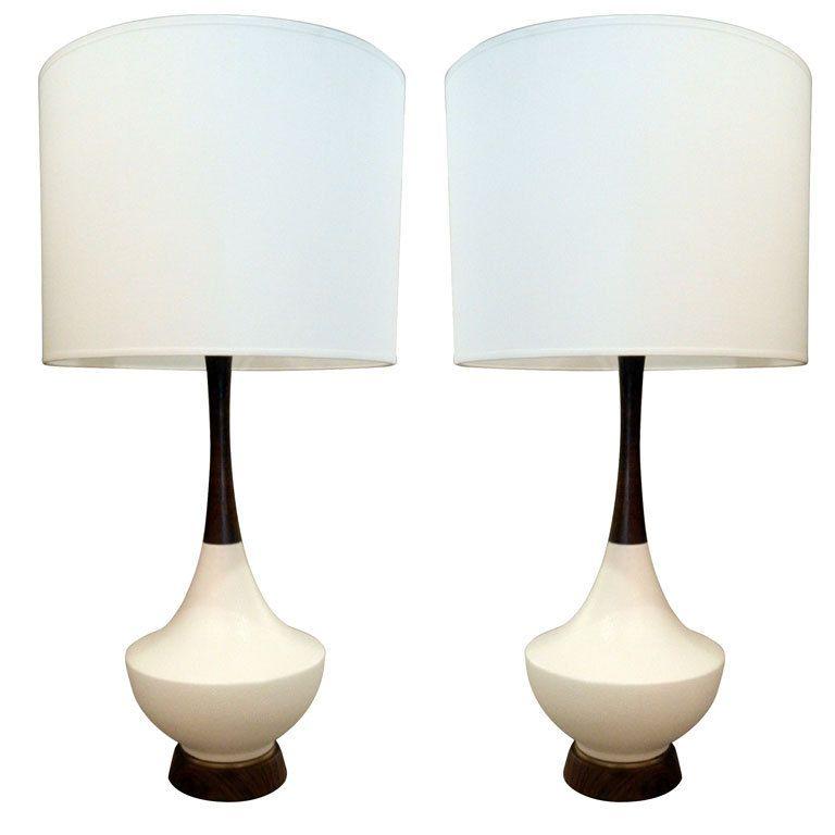 Pair Of Mid Century Danish Teak And Ceramic Table Lamps