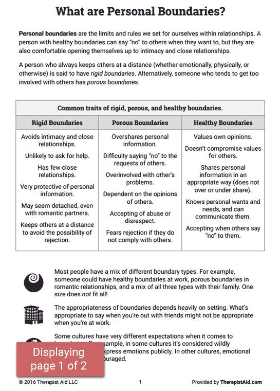 Boundaries Info Sheet (Worksheet | Work stuff | Mental health counseling, Counseling activities ...