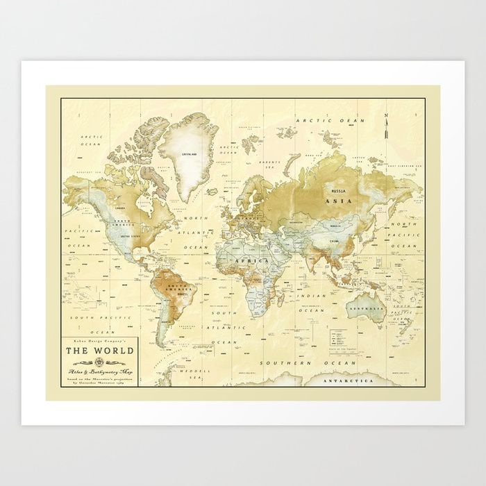 The world vintage relief map art print by kokuadesigncompany the world vintage relief map art print by kokuadesigncompany society6 gumiabroncs Image collections