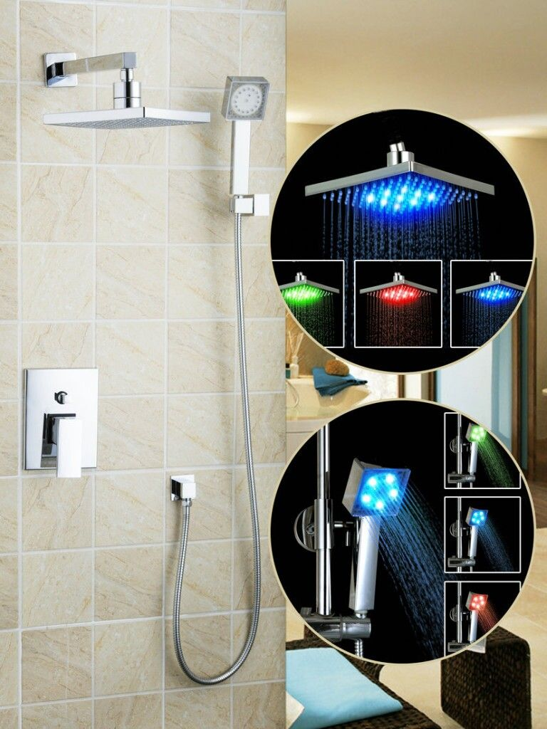 Hello modern bathroom led shower chuveiro set 3 color high quality 8shower head 50216
