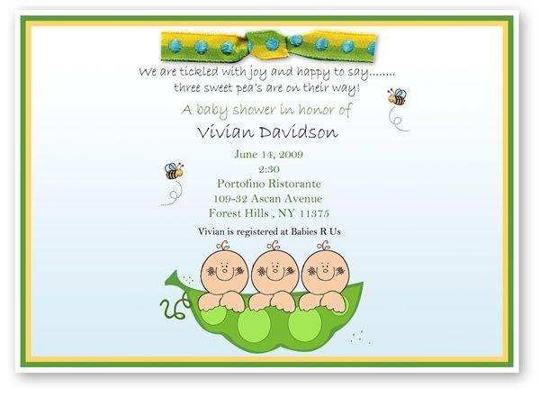 Sweet peas in the pod triplets baby shower invitation for engas sweet peas in the pod triplets baby shower invitation filmwisefo Choice Image