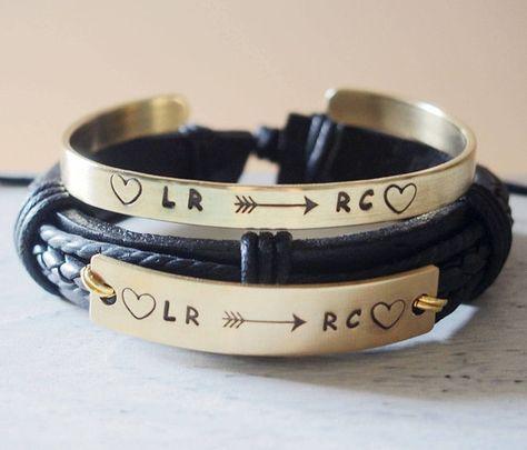 Personalized S Bracelets Leather Custom Boyfriend And Friend Bracelet Set