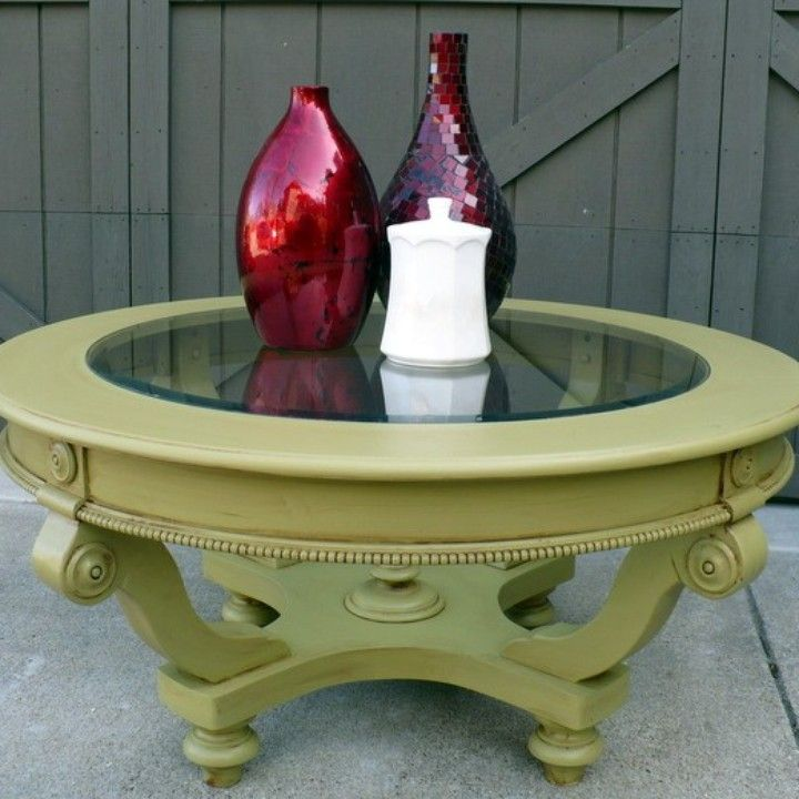 Sold Round Beveled Glass Top Coffee Table New Sage Green Paint From Julies Box For 95 On