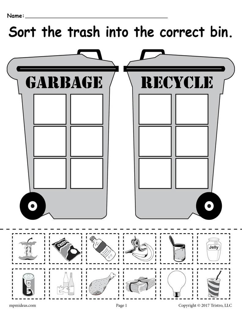 Sorting Trash - Earth Day Recycling Worksheets (4 Printable Versions!)    Earth day worksheets [ 1024 x 791 Pixel ]