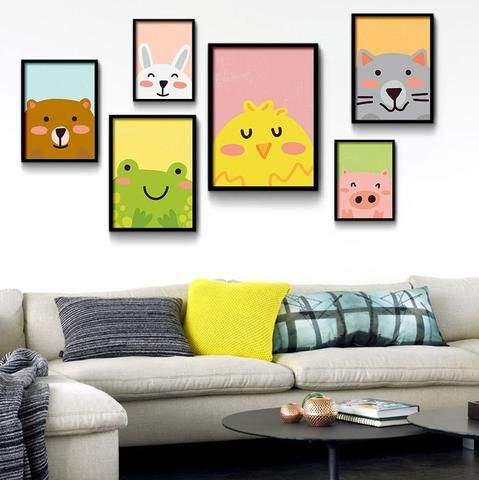 Cartoon Animals, Bear Pig Cat Minimalist Art Canvas Painting ...