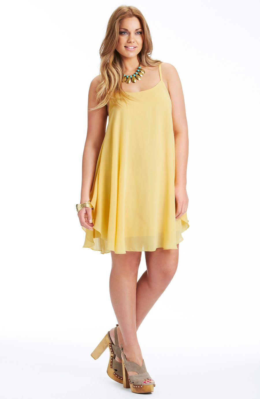 Yellow dress knee length  Loose fitting dressYellow Style No D Heavy weight georgette