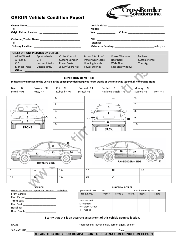 Vehicle Condition Report 487 Report Template Vehicle Inspection Business Template