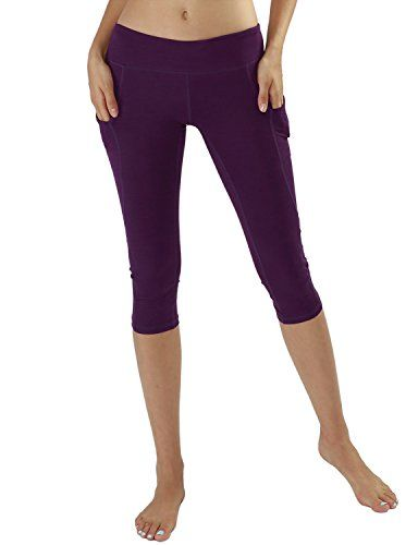 1b9ba8e13e2b2 Yoga Reflex Womens Side Pocket Sports Workout Running Yoga Active Capris  DeepPurple XSmall ** More info could be found at the image url.