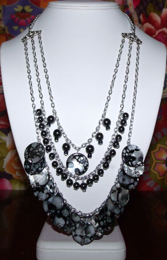 Black and White Shell and Hematite Multi Strand  by MimisCreation