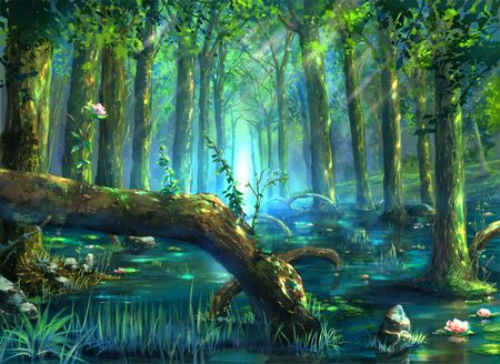 Fantasy river buscar con google art fantasy art - Anime forest background ...