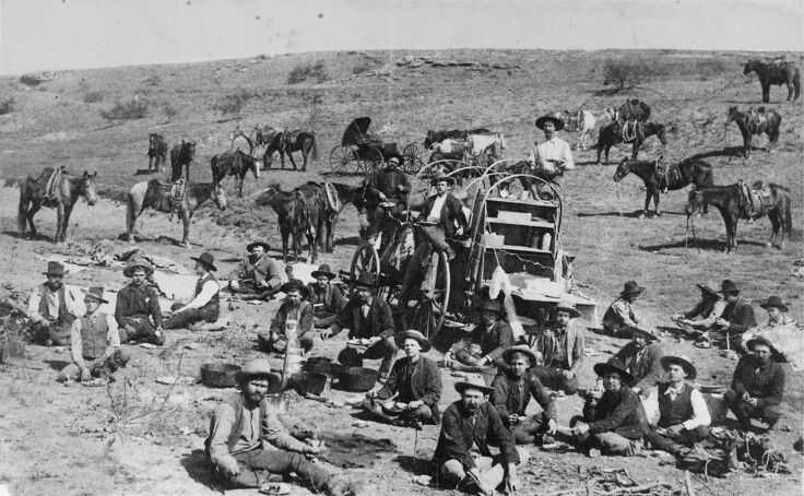 Cowboys on the xo ranch outside of childress texas 1900