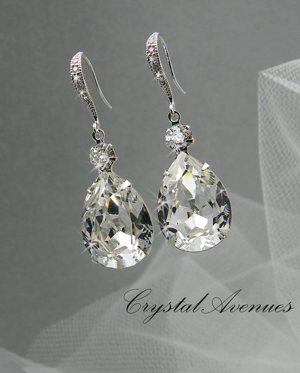 Crystal Bridal earrings Wedding jewelry Swarovski Crystal ...