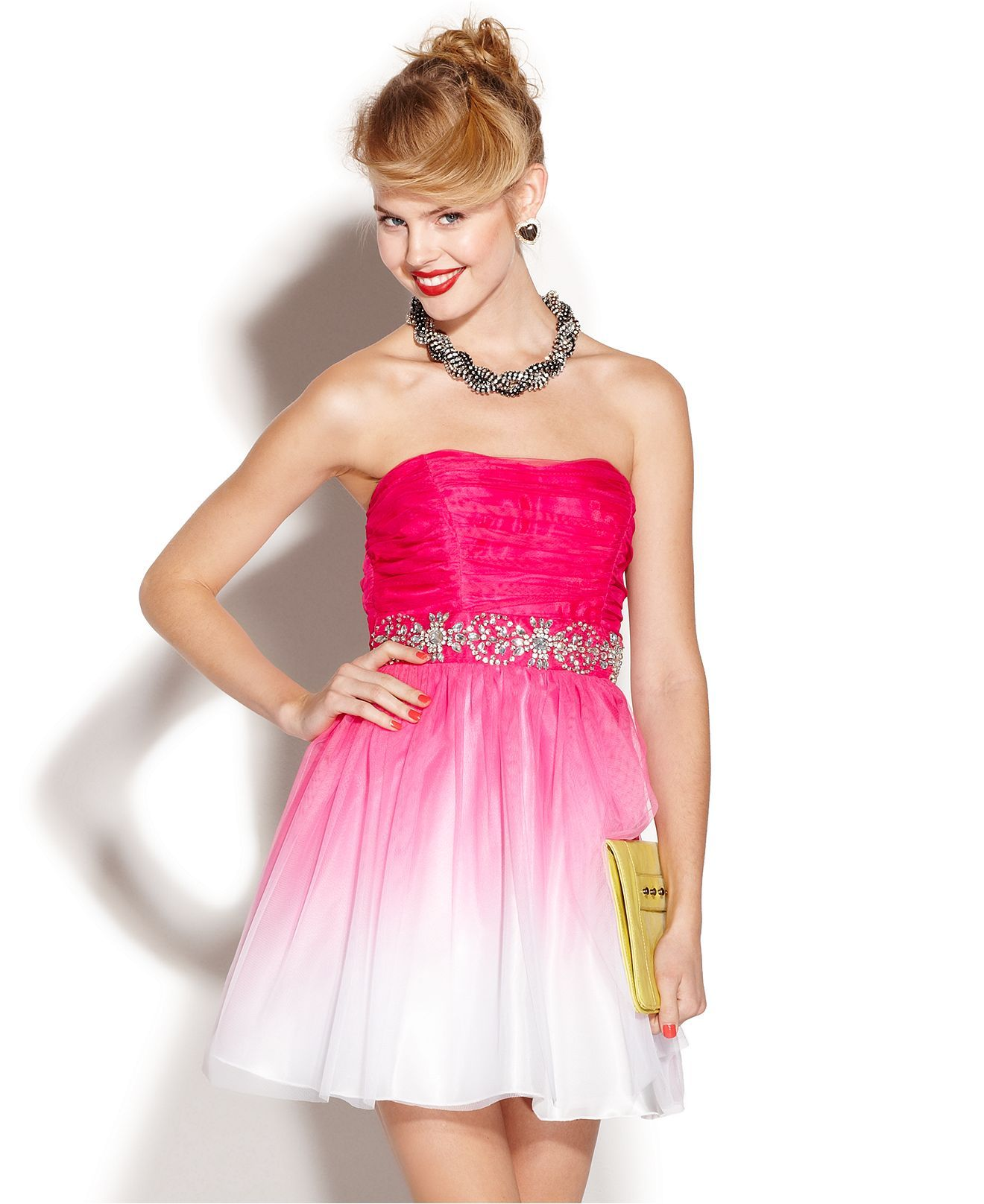 B Darlin Juniors Dress, Strapless Ombre A-Line - Juniors Prom ...