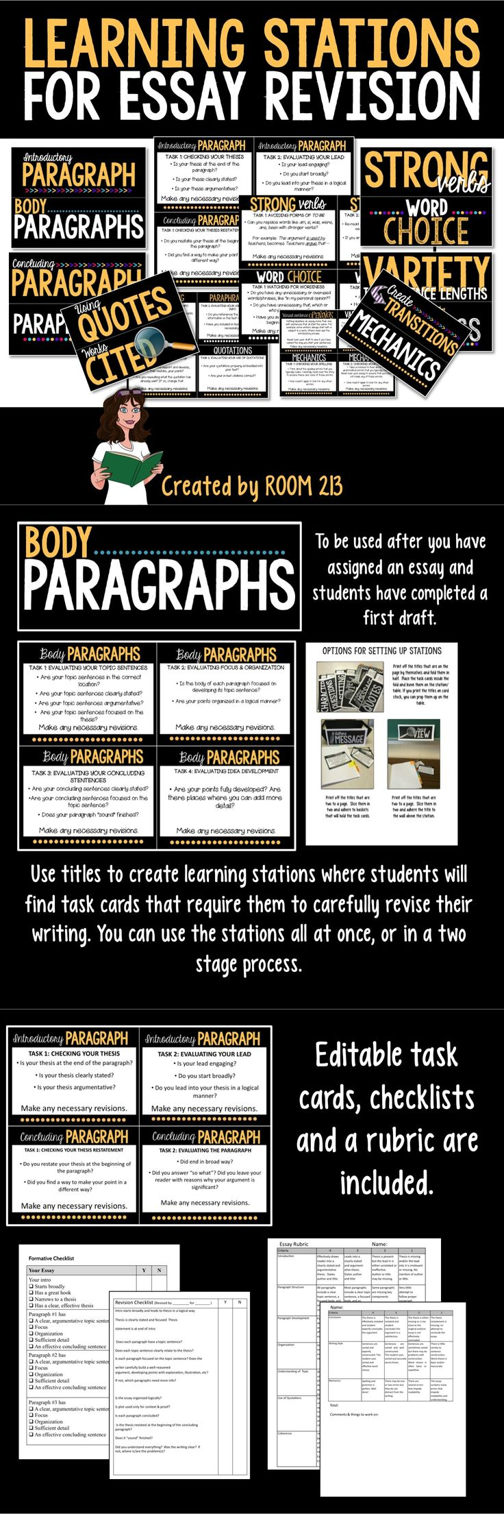 HIGH SCHOOL AND MIDDLE SCHOOL ENGLISH: Learning stations that focus on the revision process. Use for any expository and persuasive essays, including ones that require research.