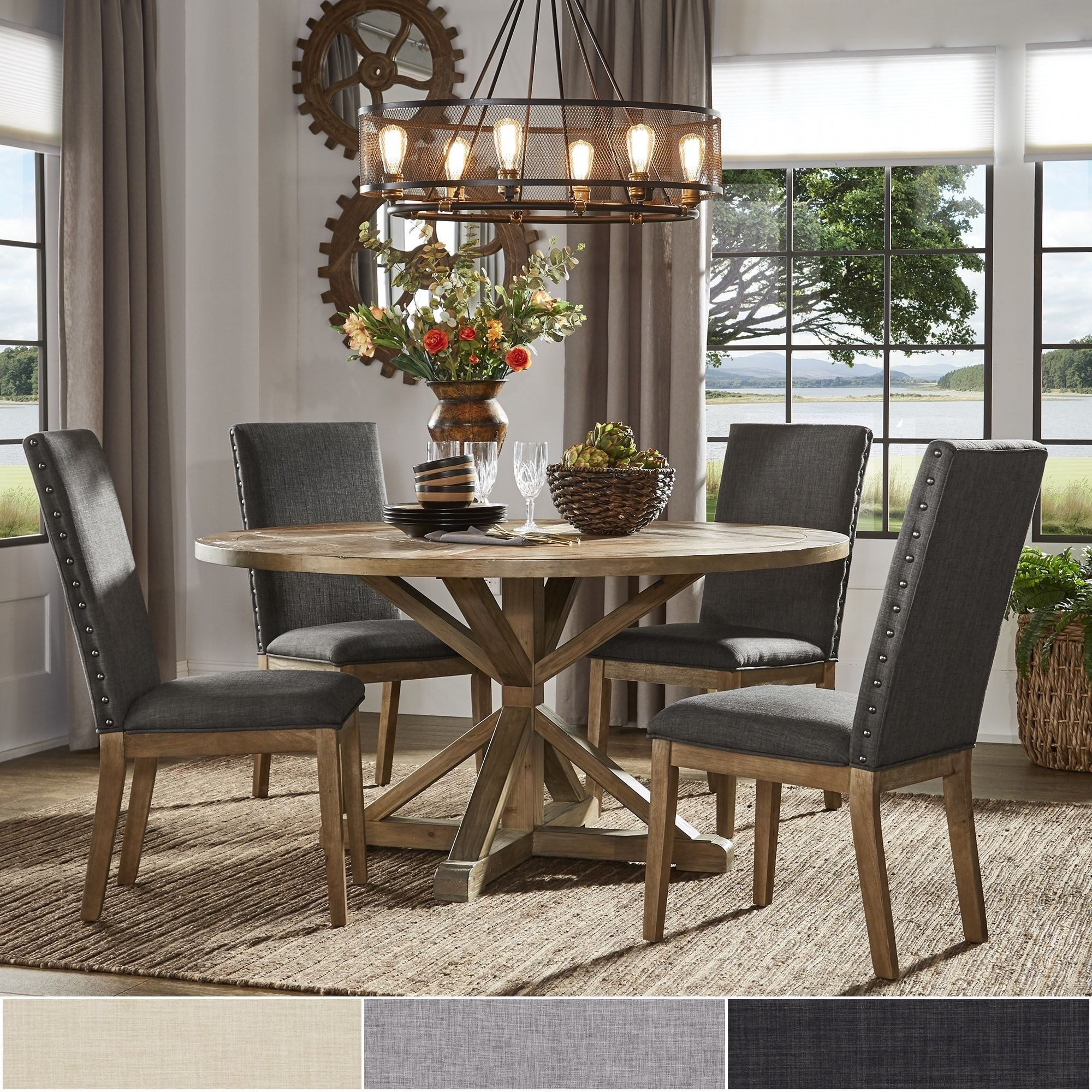 Benchwright Rustic X Base Round Pine Wood Dining Set With Nail