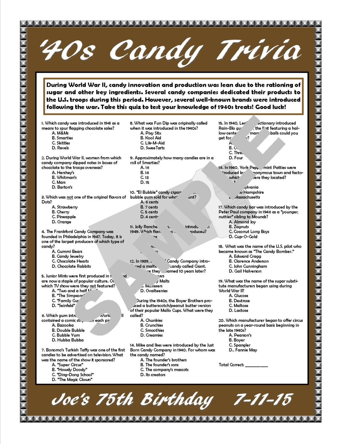 1940s candy trivia printable game personalize for birthdays anniversaries candy themed