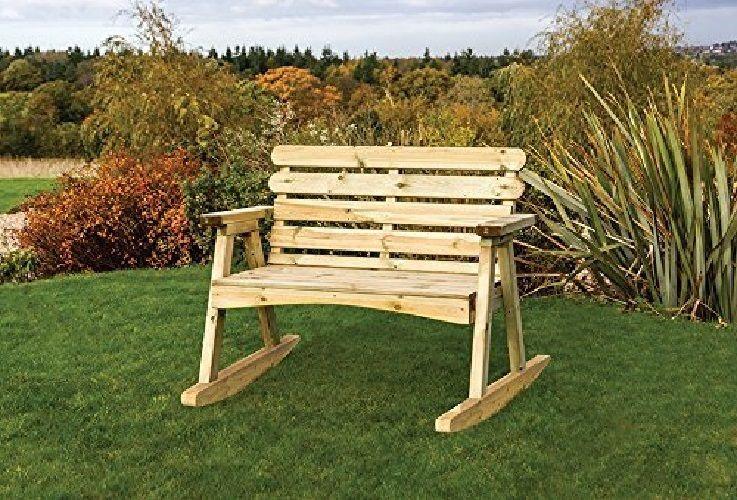 Garden Bench Wooden Rocker Chair, Outdoor Rocking Bench Seat