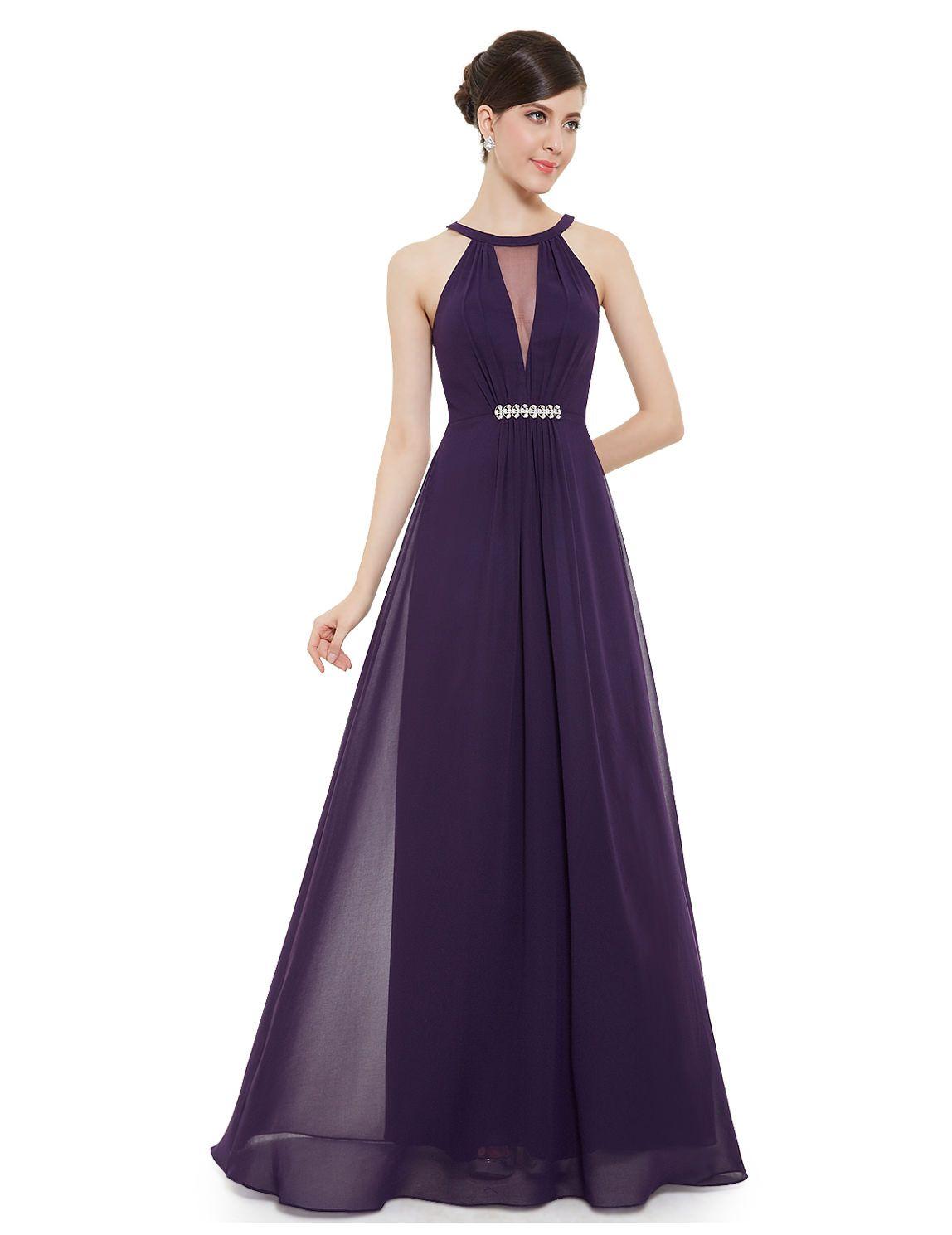 Elegantes langes Abendkleid in Lila  Vestidos de damas de honor