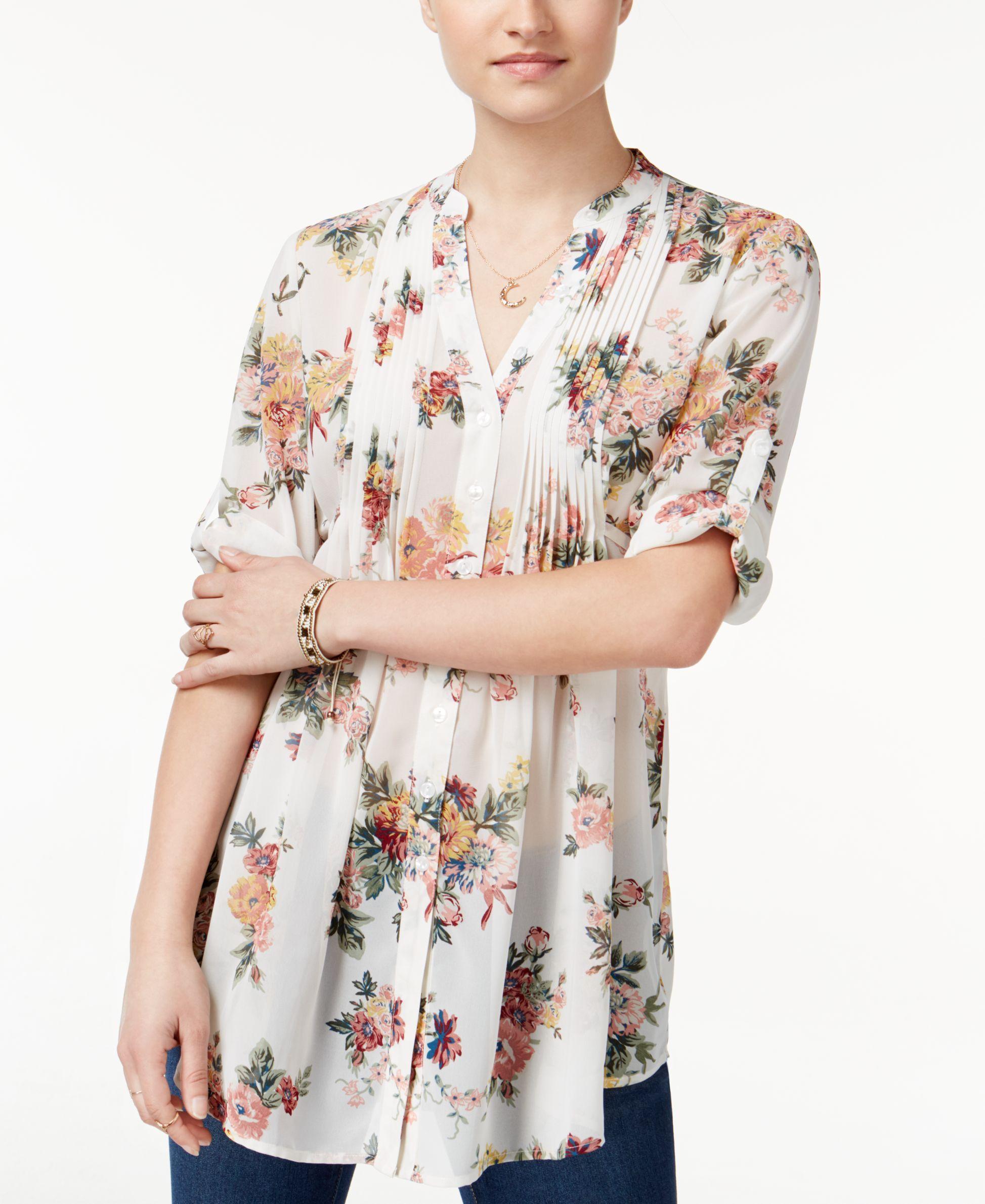 241df61cf018b American Rag Pintucked Floral-Print Blouse