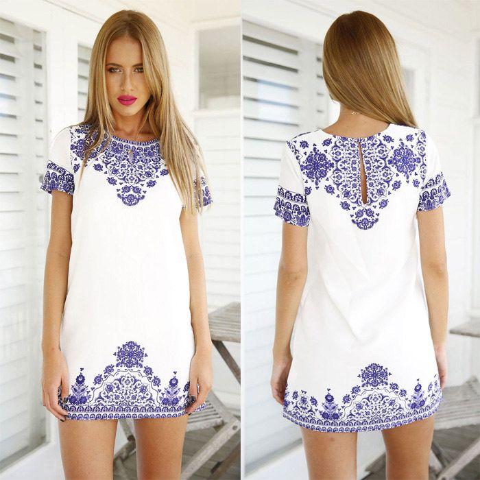 Women party dresses white print