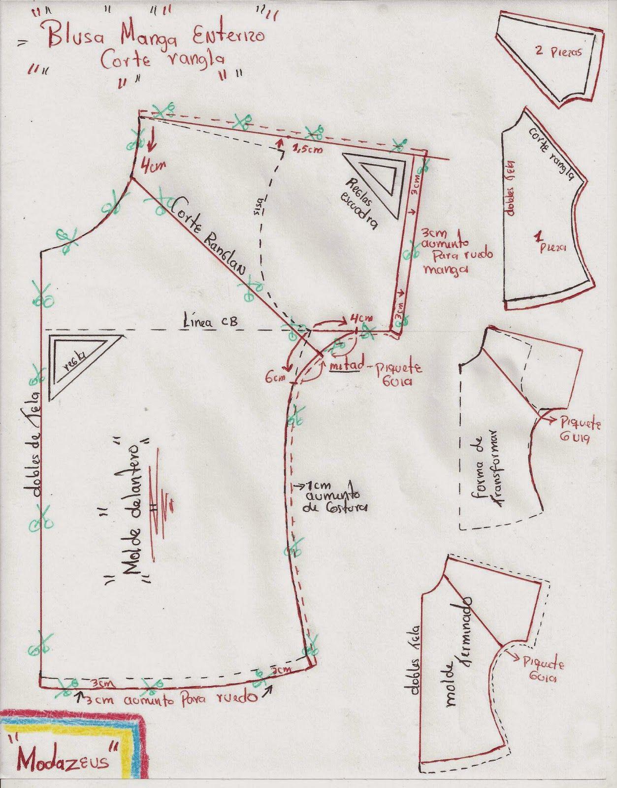 patron de blusa corte ranglan … | costura | Sewin…
