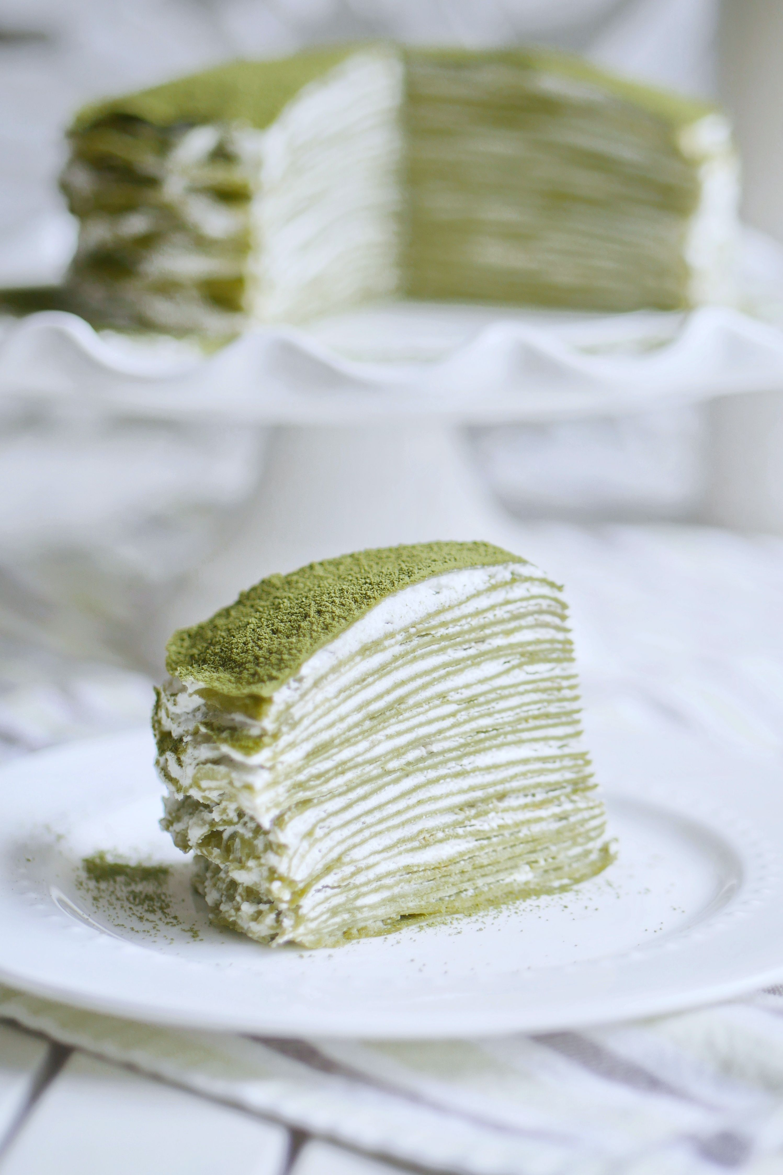 Japanese Matcha Green Tea Mille Crepe Cake A No Bake Dessert Indulge With Mimi Recipe Green Tea Crepe Cake Food Crepe Cake