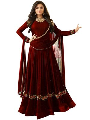 9819c03d1 Maroon embroidered faux georgette anarkali lehenga semi stitched in ...