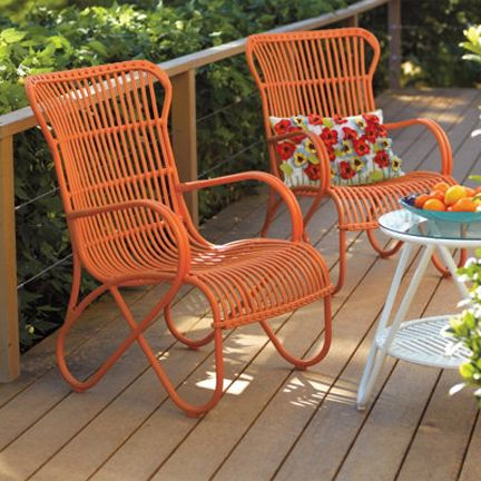 Grandin Road Orange Mid Century Rattan Outdoor Chair