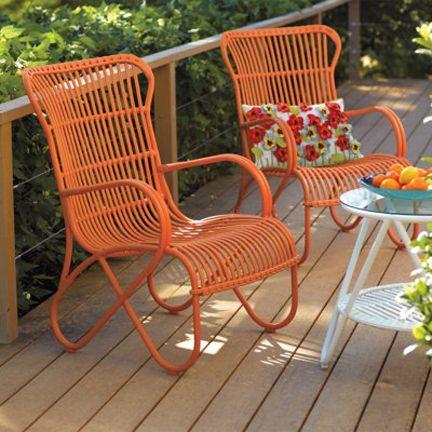 Grandin Road Orange Mid Century Rattan Outdoor Chair Furniture Modern Rattan Outdoor Chairs Modern Patio Furniture Modern Outdoor Furniture