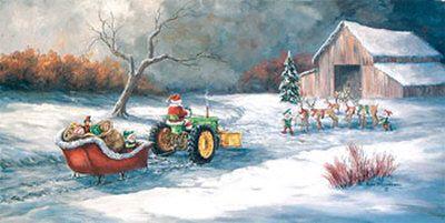 John Deere Christmas Kunsttrykk