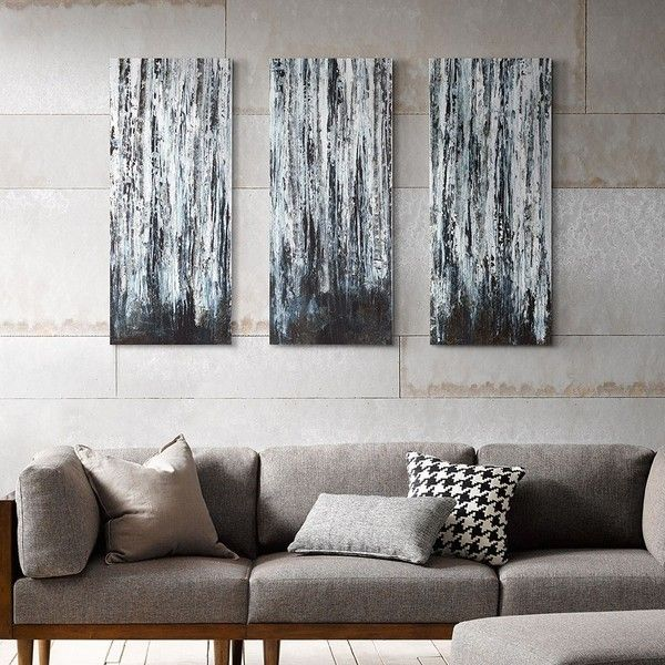 Madison Park 3 Piece U0027u0027Birch Forestu0027u0027 Canvas Wall Art Set Featuring  Polyvore Home Home Decor Wall Art 3 Piece Canvas Wall Art Outside Wall Art  Three Piece ...