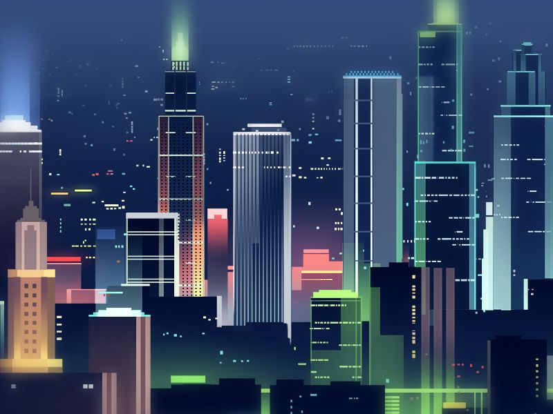 Night Shot Abstract City Art Deco Posters 2d Game Background