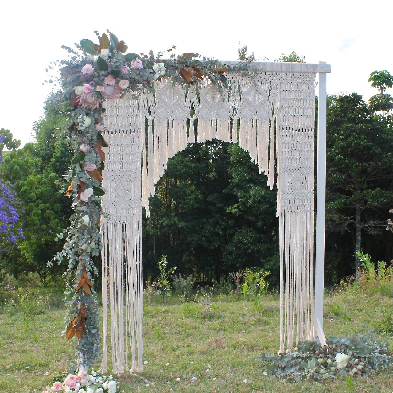 Lamour macrame and wooden arbour local hire macrame