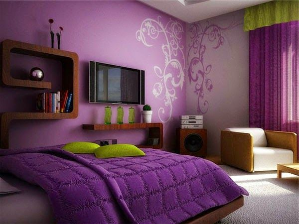 Home U0026 Apartment, A Sketch Of Minimalist Bedroom With Light And Bold Purple  Wall Purple Window Curtain Wood Bed Furniture With Light Purple Bedding And  Bold ...